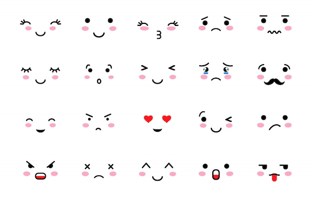Set di emoji con umore diverso.