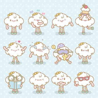 Set di emoji nuvola vettoriale kawaii