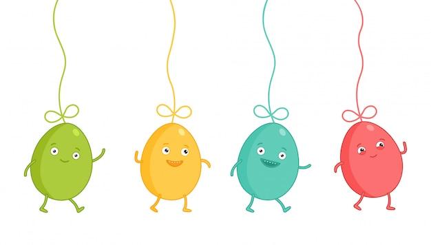 Set di emoji personaggio di uovo di pasqua. emoticon divertenti cartoni animati