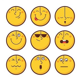Set di emoticon affrontare le emozioni