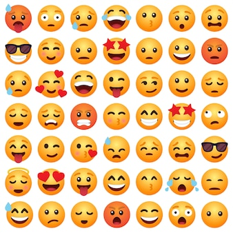 Set di emoticon cartoon emoji sorriso per i social media