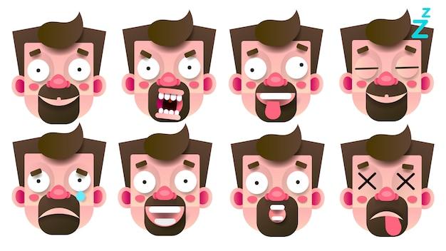 Set di emoticon con diverse emozioni isolato su bianco