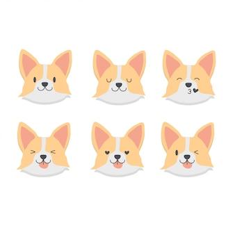 Set di emoticon corgi bambino carino