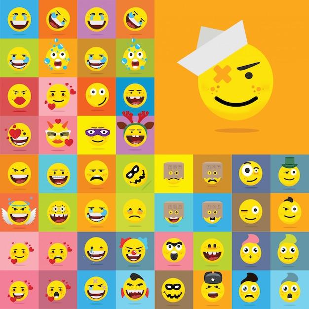 Set di emoticon di qualità set di emoji
