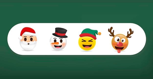 Set di emoticon. emoji di natale insieme divertente e carino.