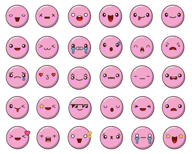 Set di emoticon isolato su bianco