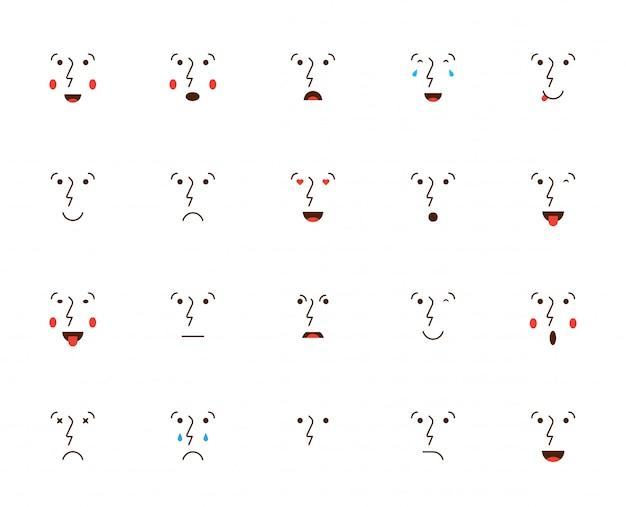 Set di emoticon o emoji. illustrazione vettoriale