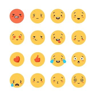 Set di emoticon rotonde gialle ed emoji.