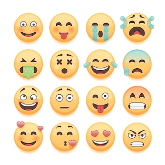 Set di emoticon, set di emoji, raccolta di smiley. pacchetto di emoticon per chat e elementi di app web.