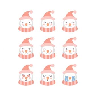 Set di emoticon simpatico pupazzo di neve