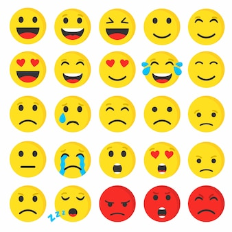 Set di emoticon smiley carino piatto, illustrazione vettoriale.