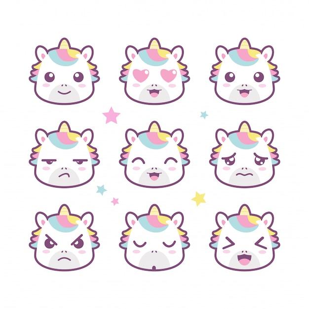 Set di emoticon sorriso unicorno carino