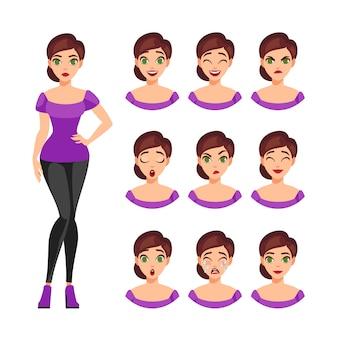 Set di emozioni della ragazza