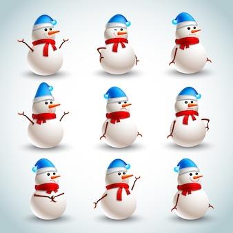 Set di emozioni di pupazzo di neve