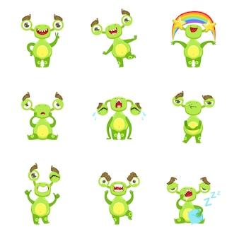 Set di emozioni e situazioni diverse di carattere mostro verde