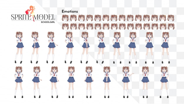 Set di emozioni. personaggio pieno di emozioni per il romanzo visivo di gioco. ragazza manga anime, personaggio dei cartoni animati in stile giapponese. ragazza in abito da marinaio, gonna blu
