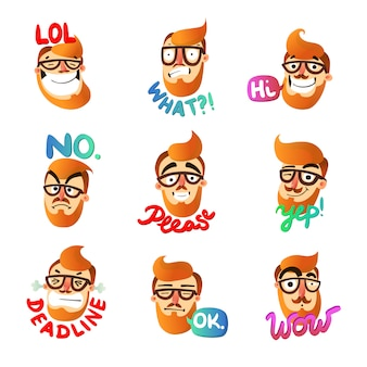 Set di emozioni uomo