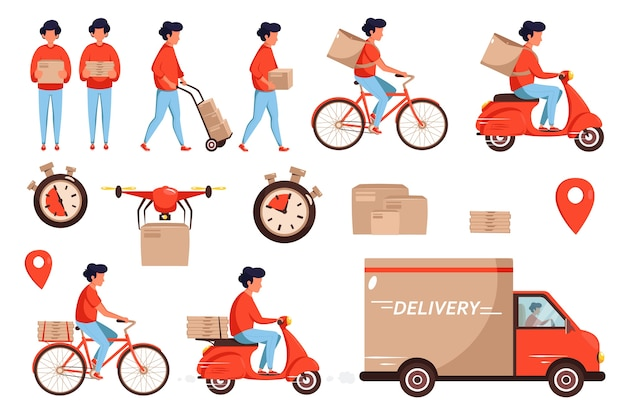 Set di erogazione del servizio. concetto di servizio di consegna tramite camion, drone, scooter e corriere in bicicletta.