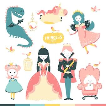 Set di eroi fiabeschi. una storia magica con una principessa, un principe, una fata, un drago, un unicorno, ecc.
