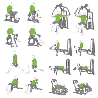 Set di esercizi di bodybuilding sistematico per attrezzature di base