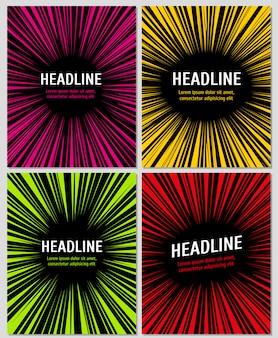 Set di esplosione di azioni di supereroi per cornici di velocità manga radiali. layout per fumetti