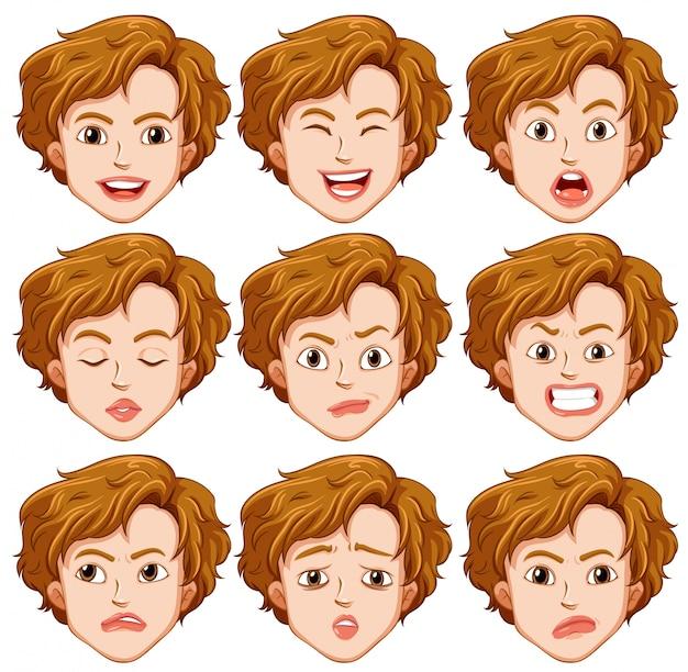 Set di espressione facciale del giovane
