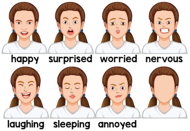 Set di espressione facciale della ragazza