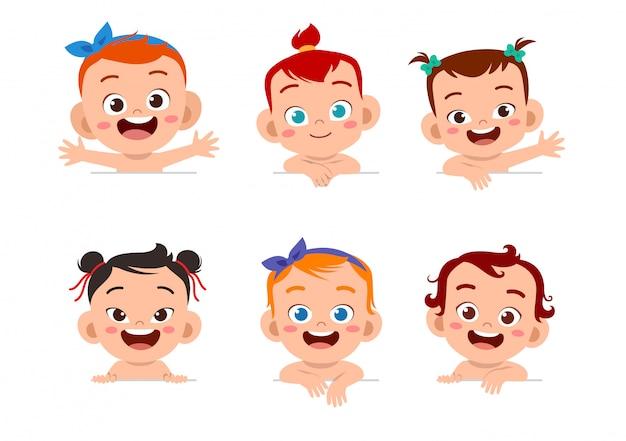 Set di espressioni del viso del bambino