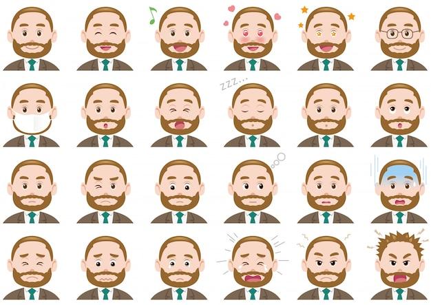 Set di espressioni diverse uomo d'affari. caratteri vettoriali isolati