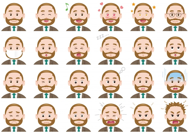 Set di espressioni diverse uomo d'affari
