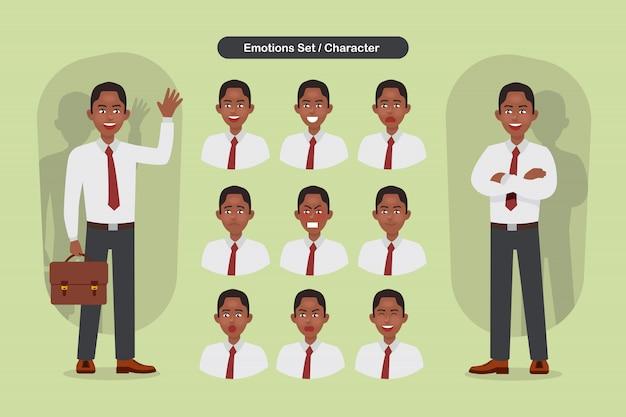 Set di espressioni facciali di uomo d'affari diverse. carattere emoji uomo