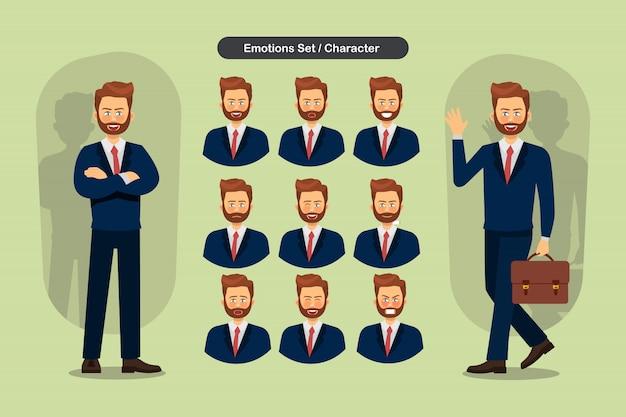 Set di espressioni facciali di uomo d'affari diverse.