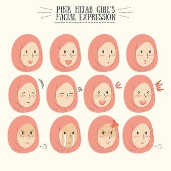 Set di espressioni facciali rosa ragazza hijab