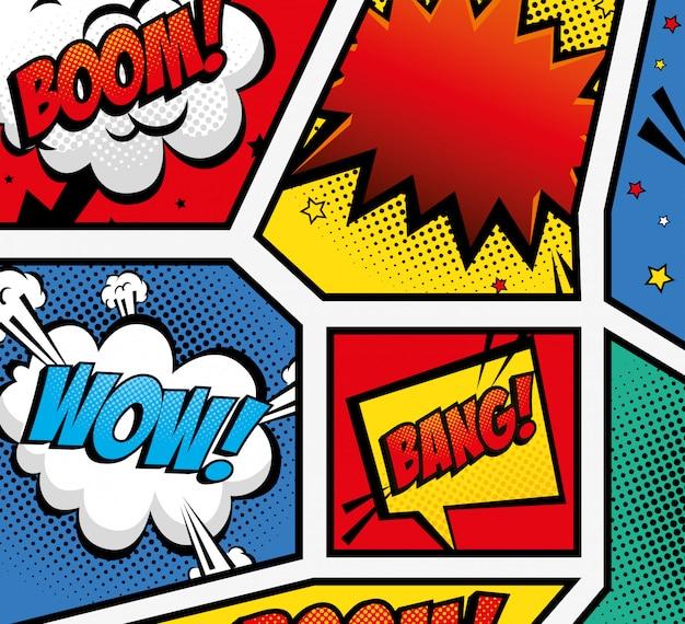Set di espressioni in stile pop art