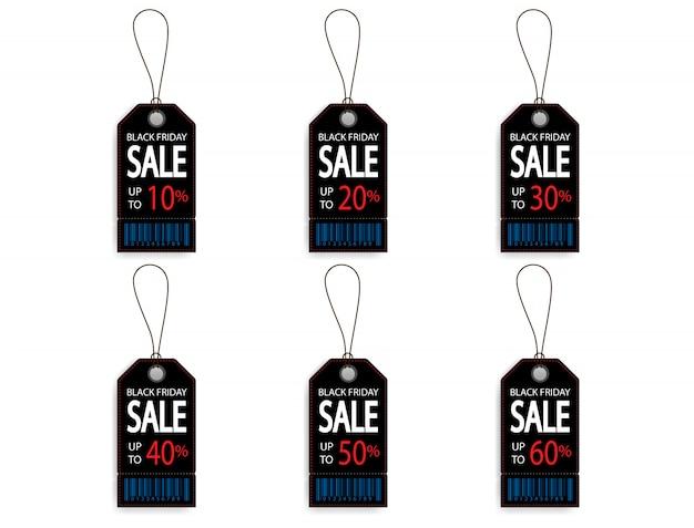 Set di etichetta di etichetta sconto vendita sconto nero venerdì con codice a barre