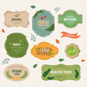 Set di etichetta naturale e marchio biologico farm fresco eco vintage.