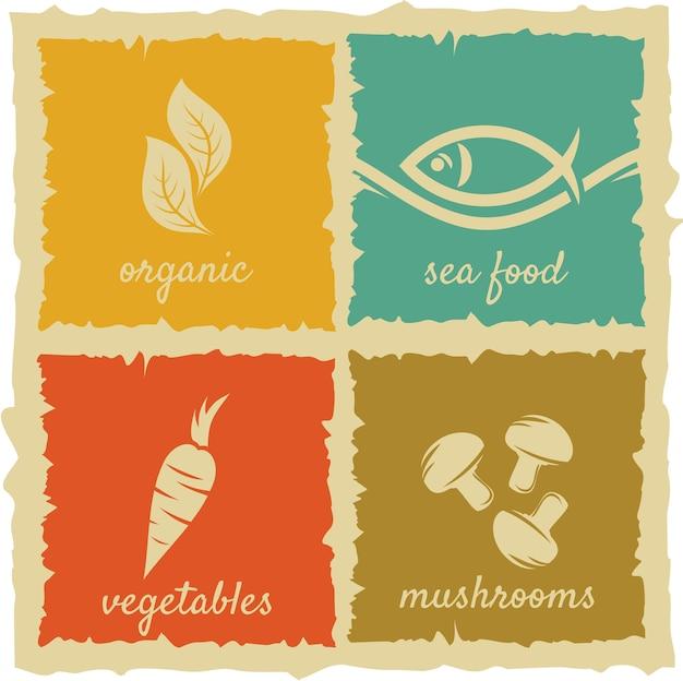 Set di etichette alimentari vintage