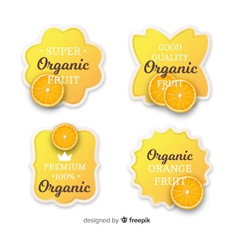 Set di etichette arancione biologico realistico