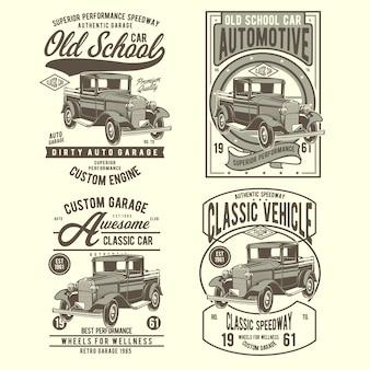 Set di etichette auto old school