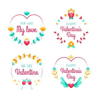 Set di etichette / badge piatto per san valentino