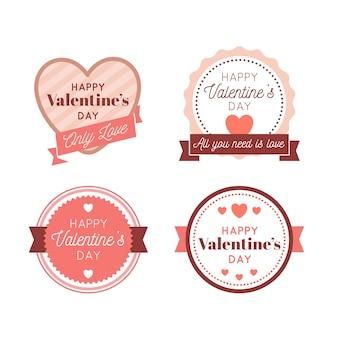 Set di etichette / badge vintage per san valentino