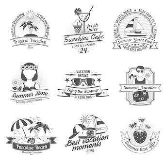 Set di etichette bianche nere estive