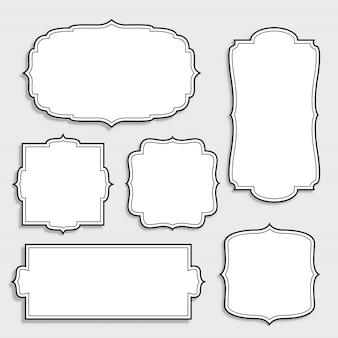 Set di etichette bianche vuote d'epoca