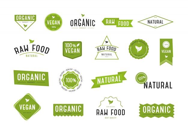 Set di etichette biologiche. collezione vari logo.