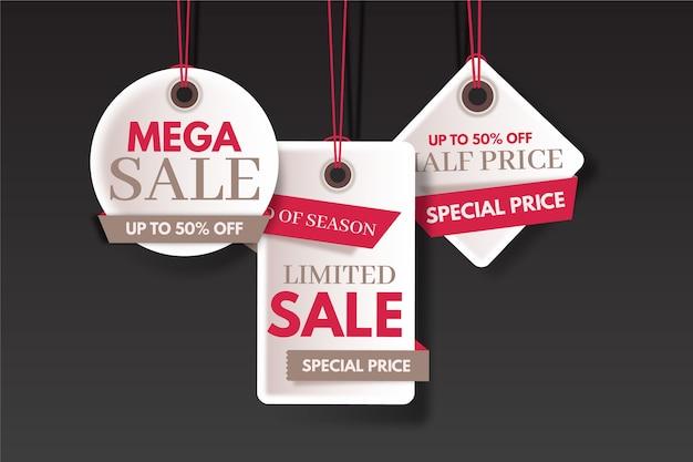 Set di etichette colorate di risparmio vendita fine anno