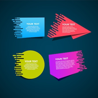 Set di etichette colorate origami per il vostro testo