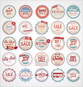 Set di etichette colorate vintage retrò e distintivi