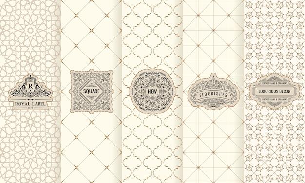 Set di etichette con logo cornice confezione