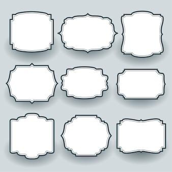 Set di etichette cornice vuota d'epoca di nove