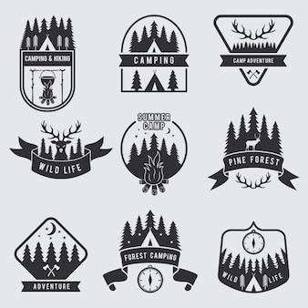 Set di etichette da campeggio all'aperto. badge monocromatici explorer.